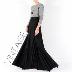 Vintage 70s black maxi accordion pleated skirt M L
